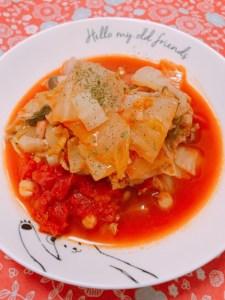 豚バラ肉と白菜、ひよこ豆のトマト煮込み