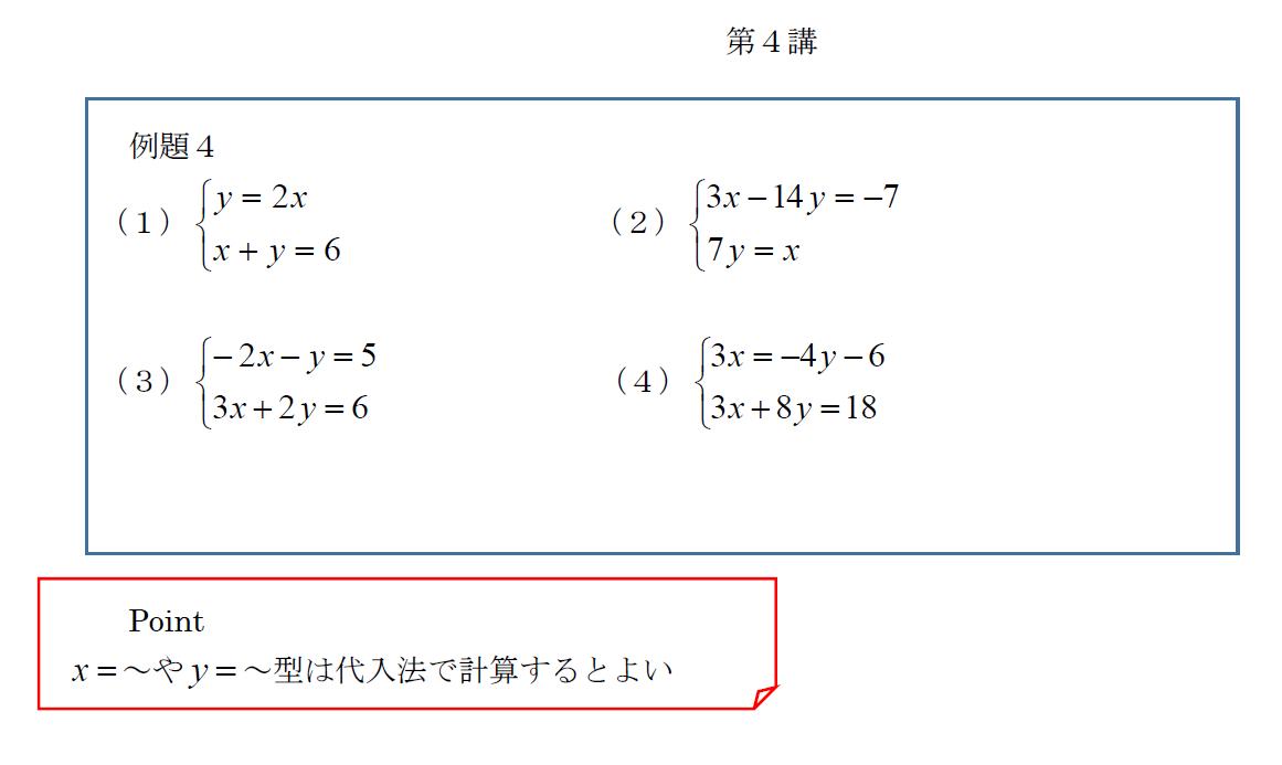 中學2年 連立方程式の計算 第4講 – 清水塾