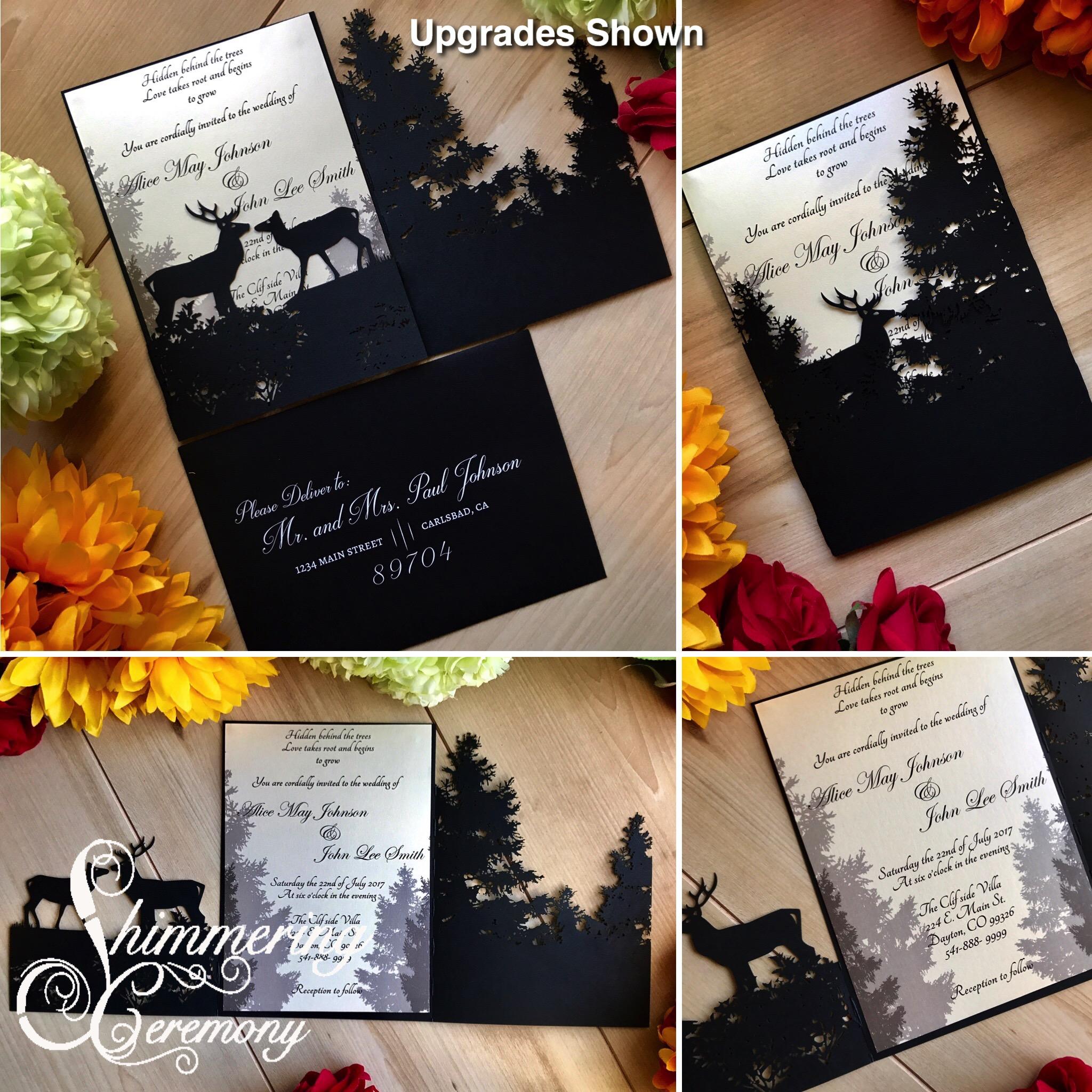 Forest Deer Laser Cut wedding invitation