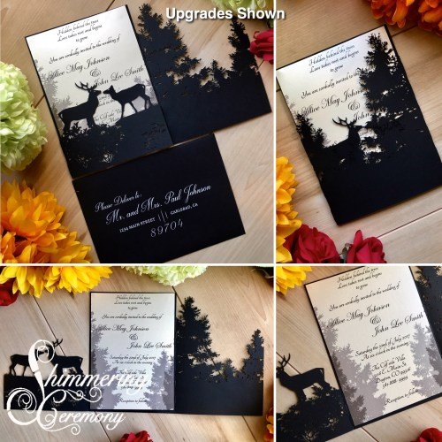 Forest Deer Laser Cut wedding invitation