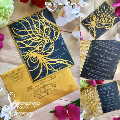 Mardi Gras Laser Cut wedding Invitation