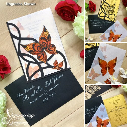 Orange Butterfly Black Laser Cut Wedding Invitation