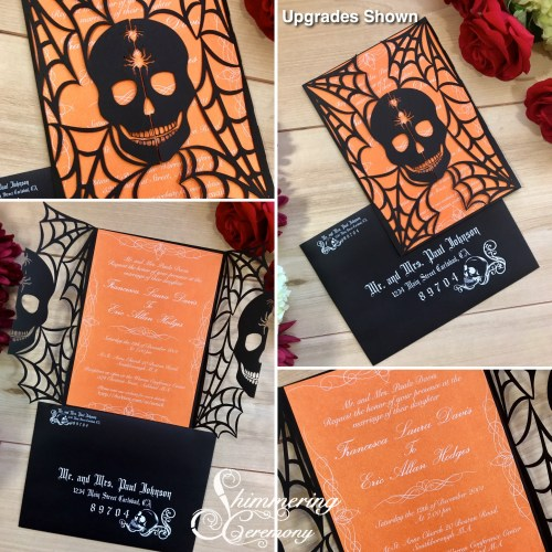 Skull in Spider web Laser Cut Wedding Invitation