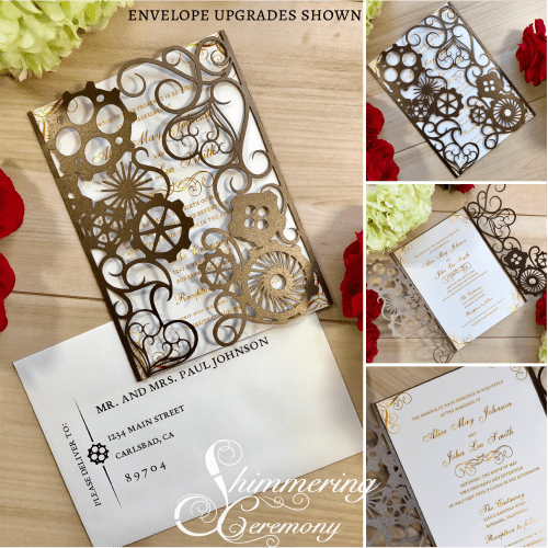 Steampunk Gears Laser Cut wedding invitation