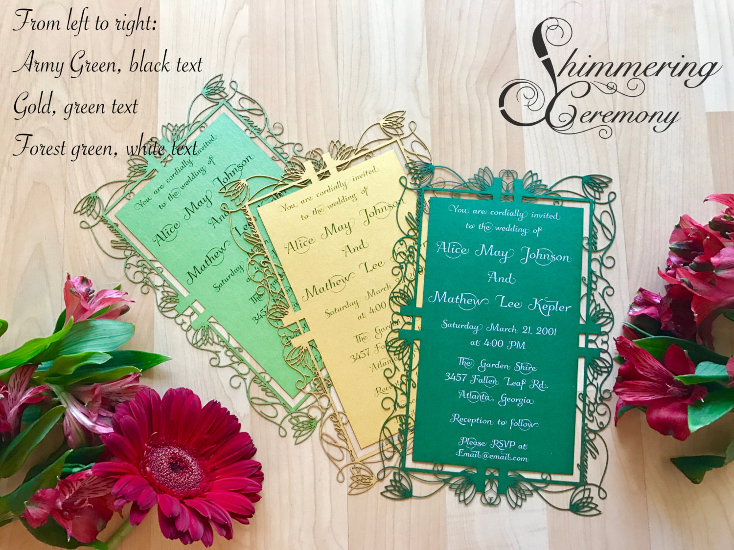 Elvish Wedding Invitation laser cut Elf Inspired lord of the rings party invite customizable
