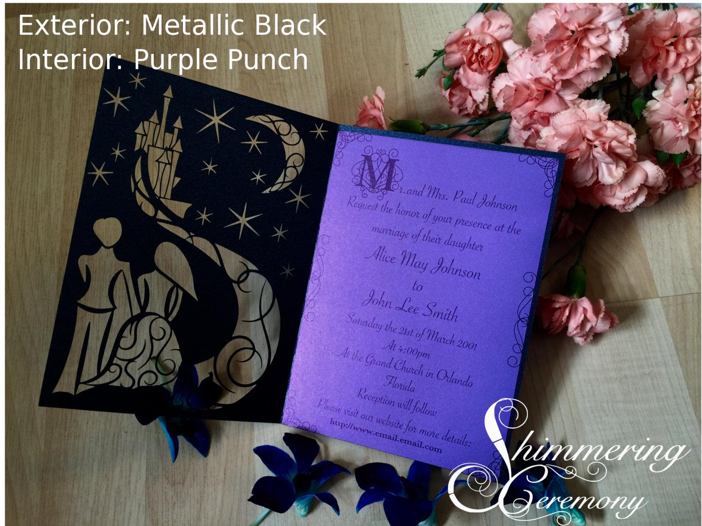 Fairytale starry night laser cut wedding invitation blue night with moon bride and groom fairy tale castle