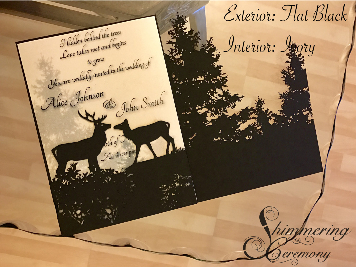 Deer In Forest Laser Cut Invitation Shimmering Ceremony