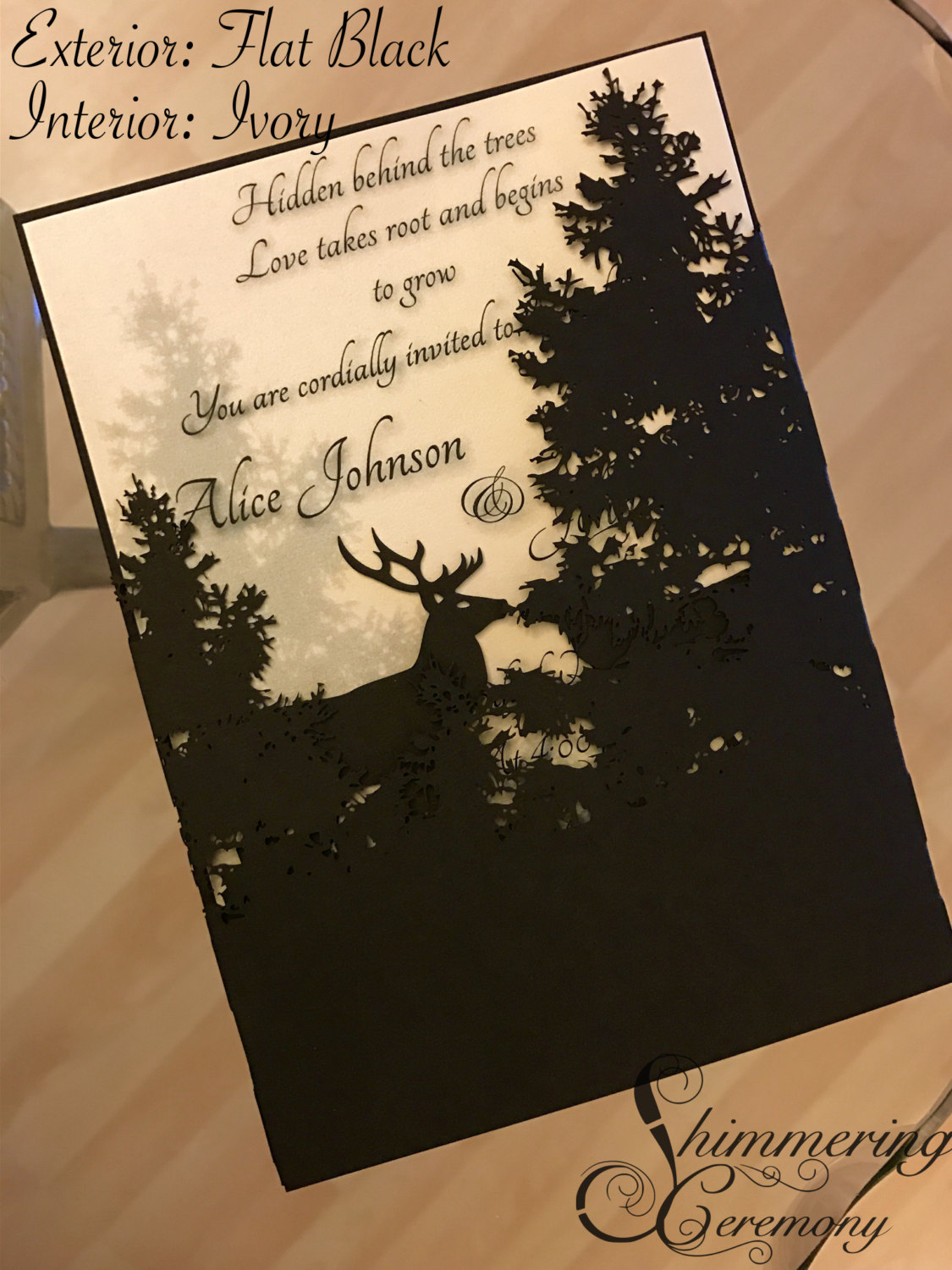 Forest laser cut wedding invitation elk kissing in the trees hidden love rustic nature event