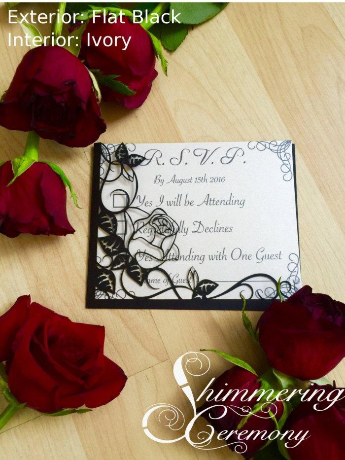 Laser cut roses RSVP pocket wedding party card  romantic  engagement
