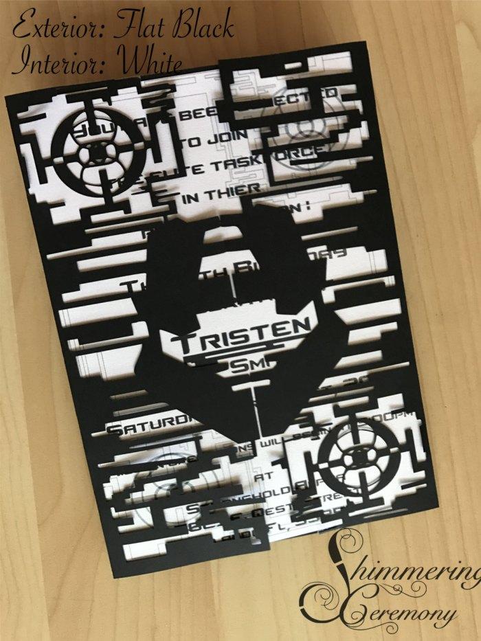 laser cut video game birthday party invitation futuristic printed helmet gamer bat mitzvah invite