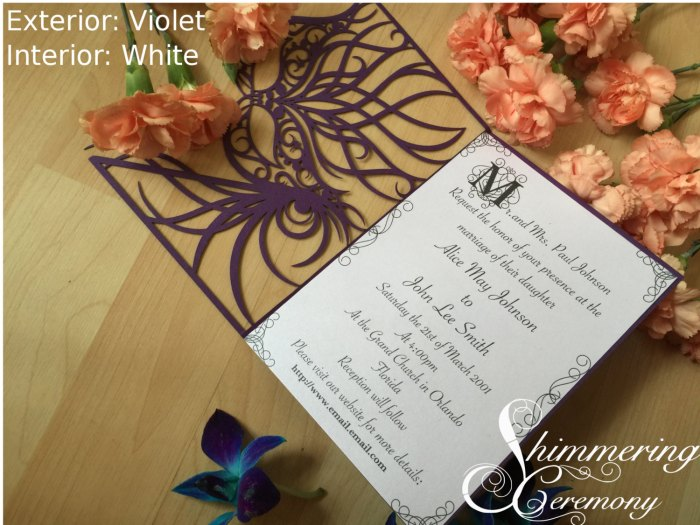 Mardi gras mask party invitation laser cut masquerade ball wedding invite to a masked princess sweet sixteen