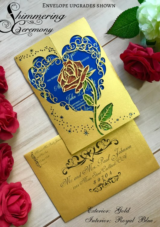 Beauty and the beast inspired wedding invitation laser ...