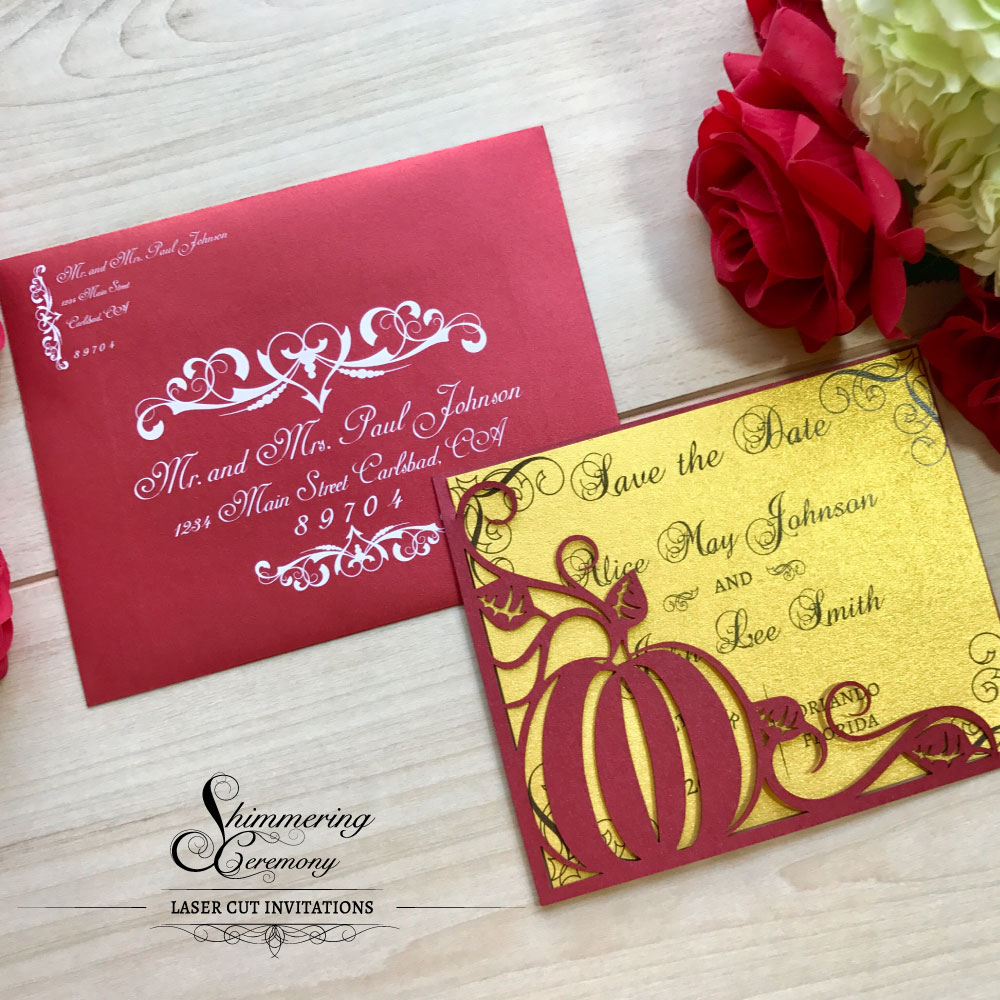 Pumpkin Laser Cut Save The Date | Shimmering Ceremony