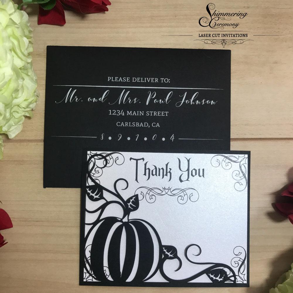 Pumpkin Laser Cut Thank You Cards Shimmering Ceremony