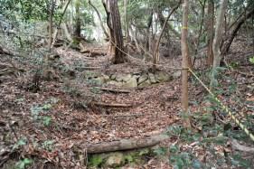 瓶割山(長光寺山)岩倉山峠道ルート - 二の郭奧に階段道