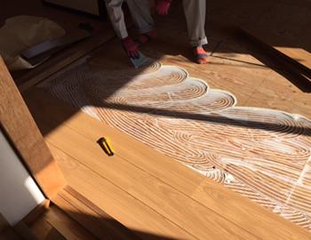 長野市畳からボンド釘併用フローリングへの張替え工事