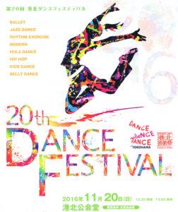 いよいよ20回目を迎える港北ダンスフェスティバル。ロビーには記念の展示も予定