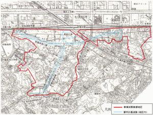 1994年に篠原口の赤い線内では再開発計画が策定されたものの現在までに実行されていない(横浜市のページより)