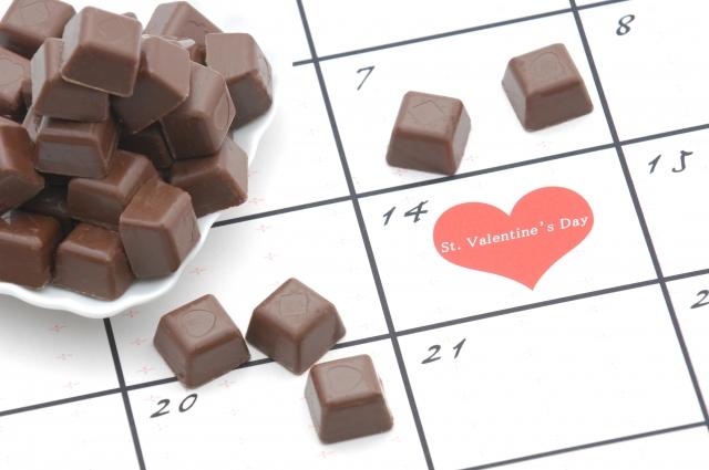 バレンタインが平日の年のカレンダーとチョコ