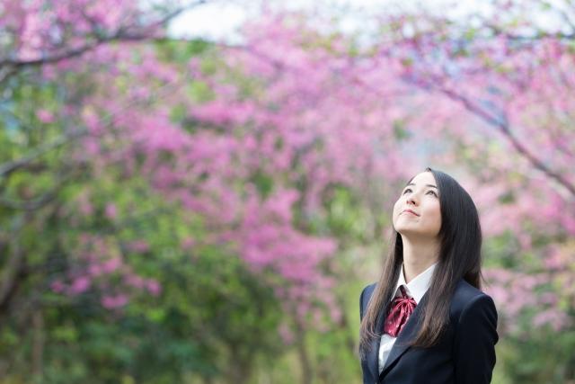 桜の花と女子高生