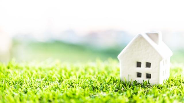 芝生と家の人形