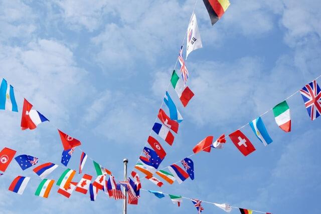 飾られた万国旗
