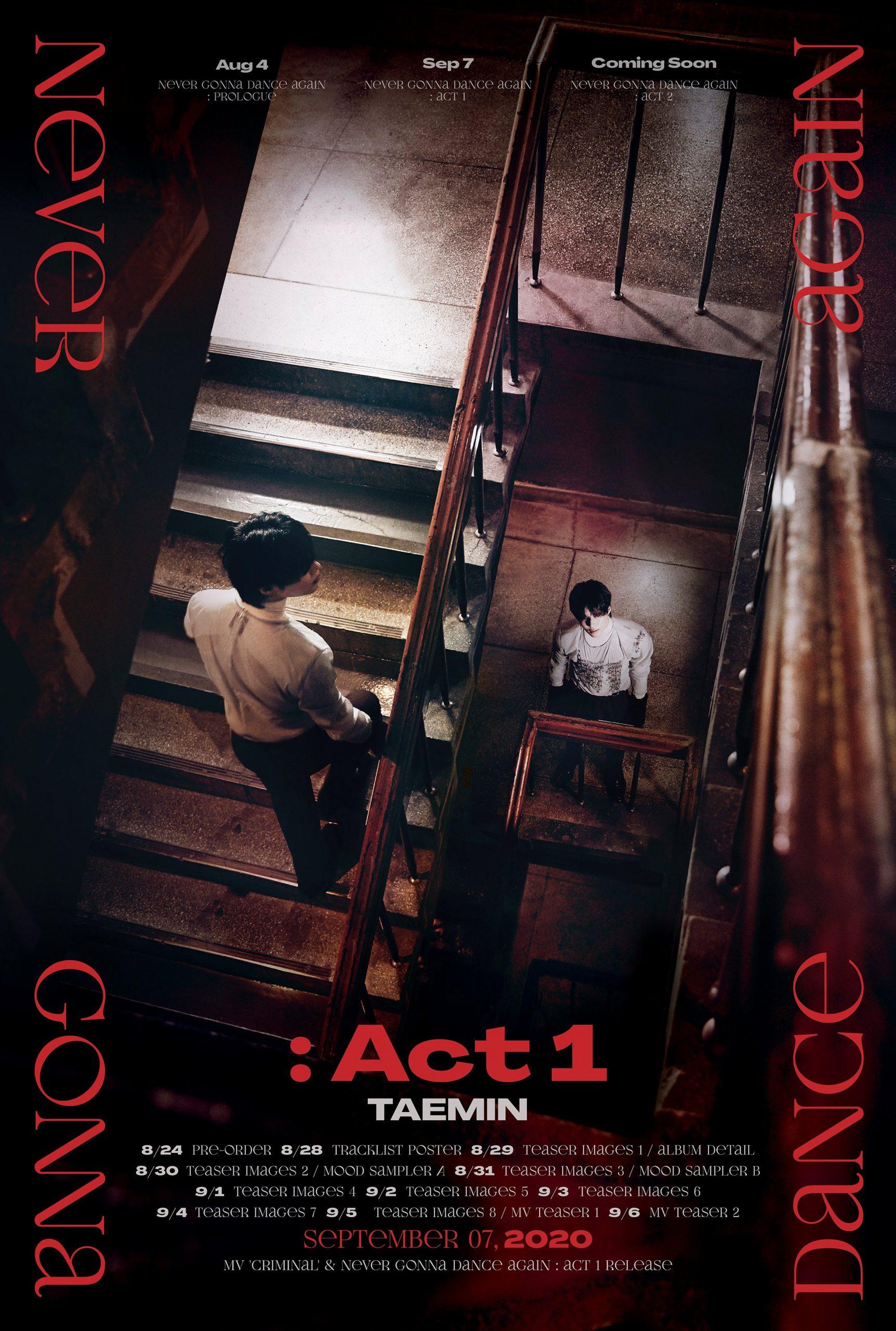 """TAEMIN: 3rd Full Album """"Never Gonna Dance Again: Act 1"""" 9/7 Release~!"""
