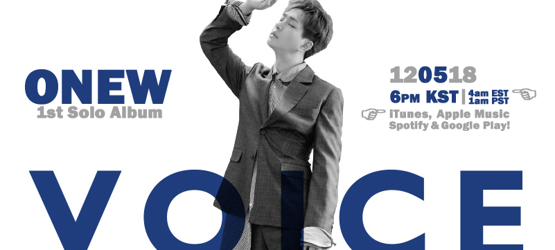 """ONEW: 1st Solo Album """"VOICE"""" 12/5~!"""