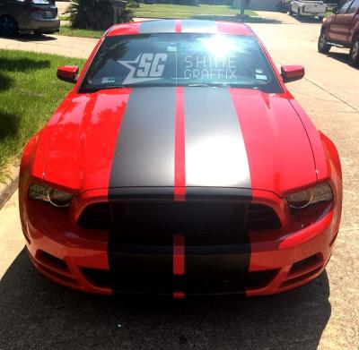 Universal 12 inch wide stripes Mustang lemans style front