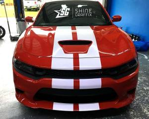 Dodge charger scat pack Hellcat stripes hood scoop White