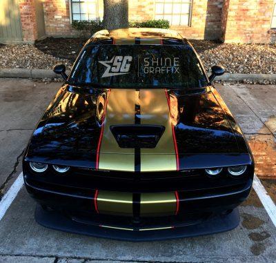 Challenger SRT Racing Stripes Precut Scoop area 2015-2017 front