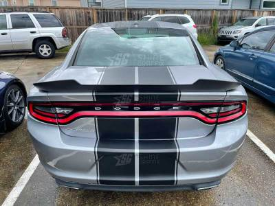 dodge charger rally racing stripes 10 in rear matte black