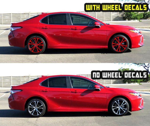 2019 camry se red wheel decals