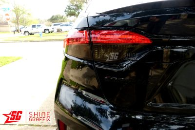 2020 Corolla Sedan Taillight Tint OVERLAYS clear area left side