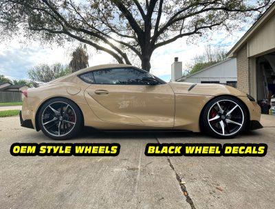 Mk5 Supra a90 OEM vs white wheel decals mods