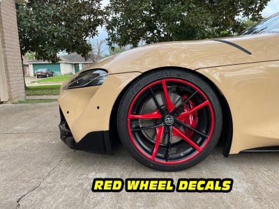 Mk5 Supra a90 red wheel decals mods