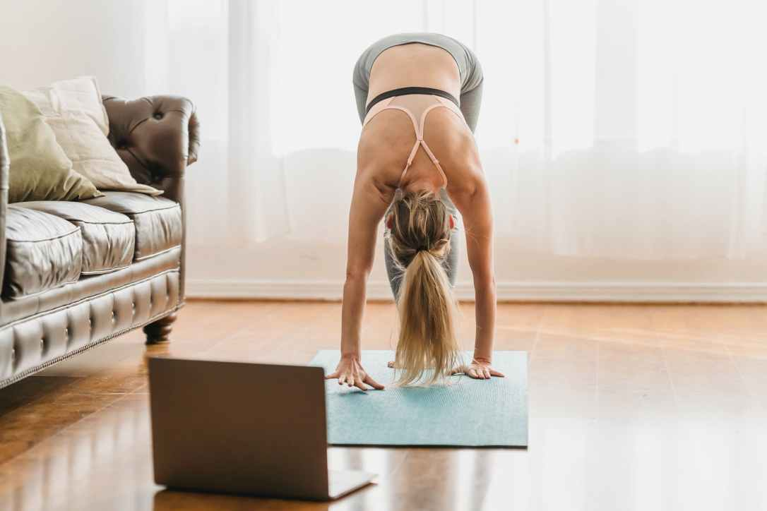 anonymous fit woman doing uttanasana posture