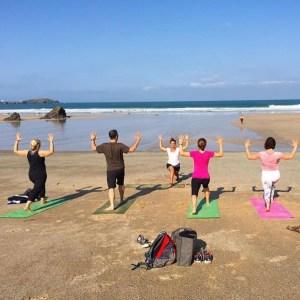 newquay beach yoga class cornwall