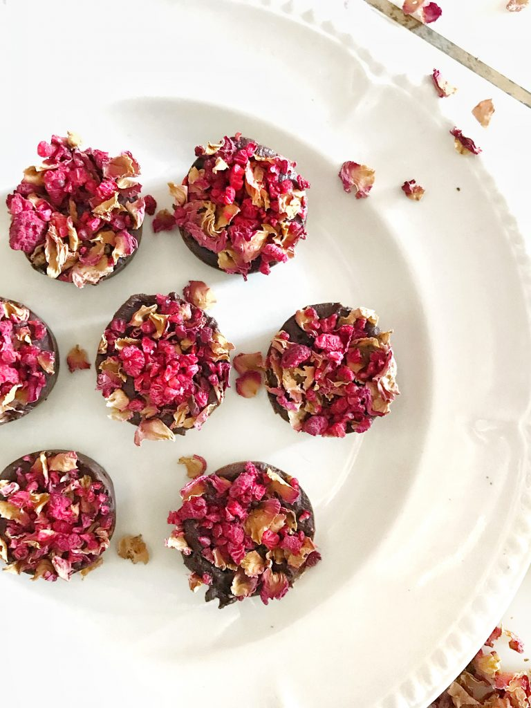 Rose raw chocolate topped with dried rose petals.