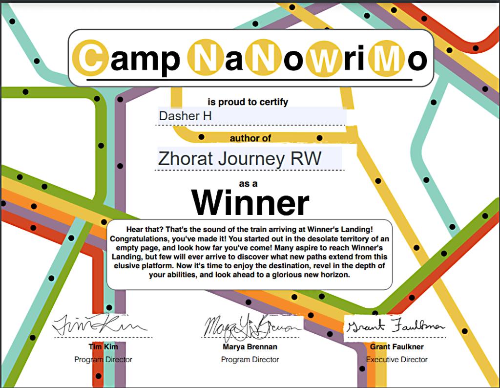 Camp NaNoWriMo Winner July 2021