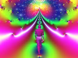 Men traveling a narrow path, seeking illumination.