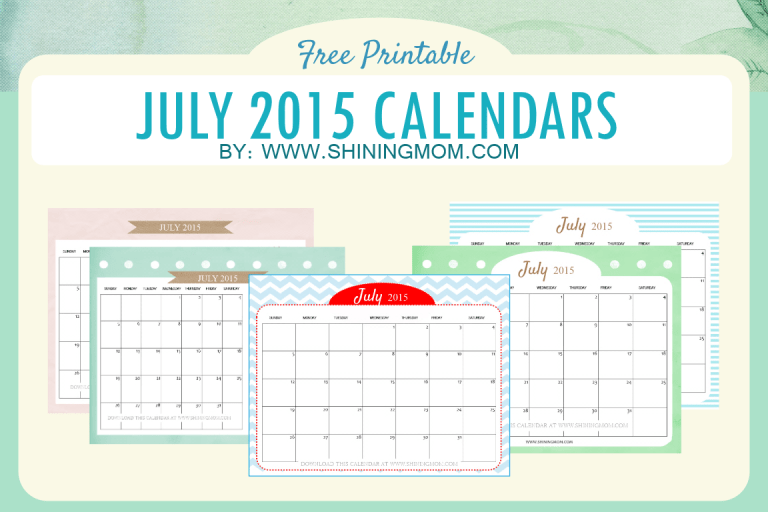 Cute Calendars for July 2015 {Free!}