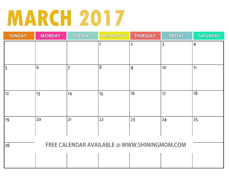 The Free Printable 2017 Calendar by Shining Mom – Free Calendar Printable