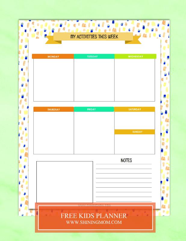 free kids planner printable - Free Kids Printable