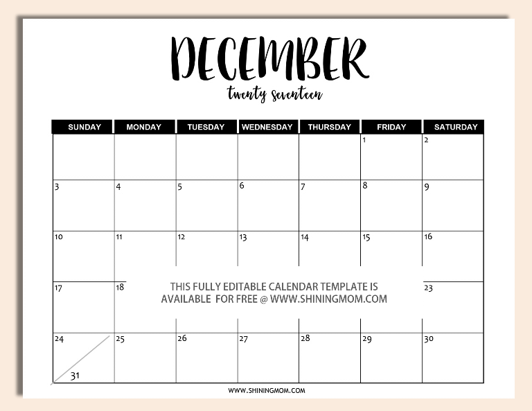 Free Printable Fully Editable 2017 Calendar Templates in Word Format – Calendar Templates in Word