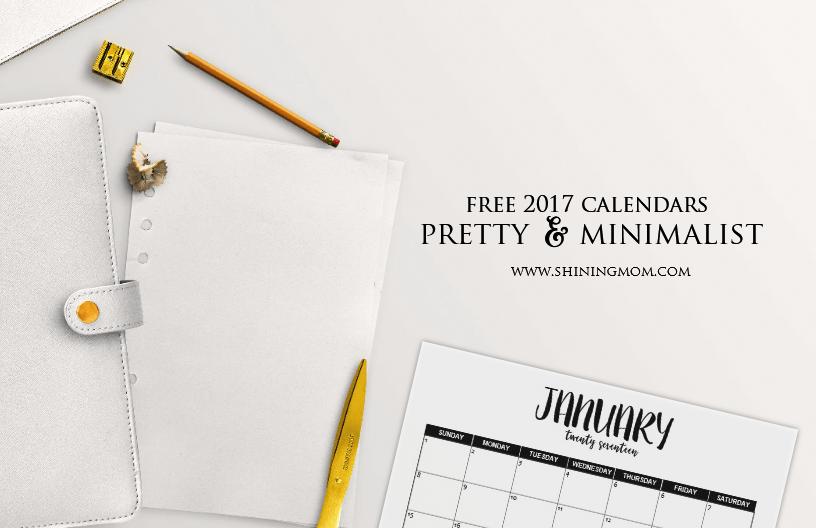2017 Calendar Minimalist : Free monthly calendars minimalist design