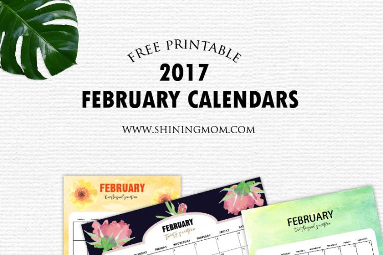 Pretty FREE Printable February 2017 Calendar {With Handmade Designs!}