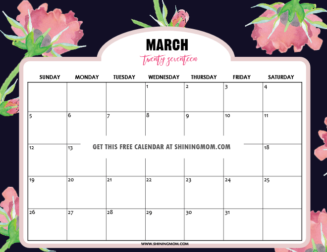 Free Printable March 2017 Calendars: 12 Pretty Designs!