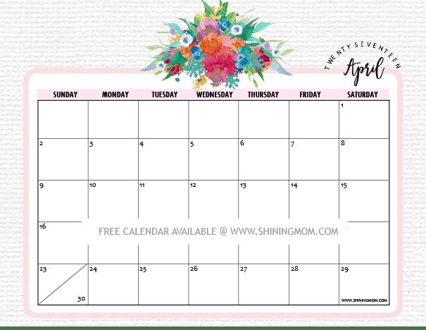 Calendar Design April : Pretty free printable calendars for april
