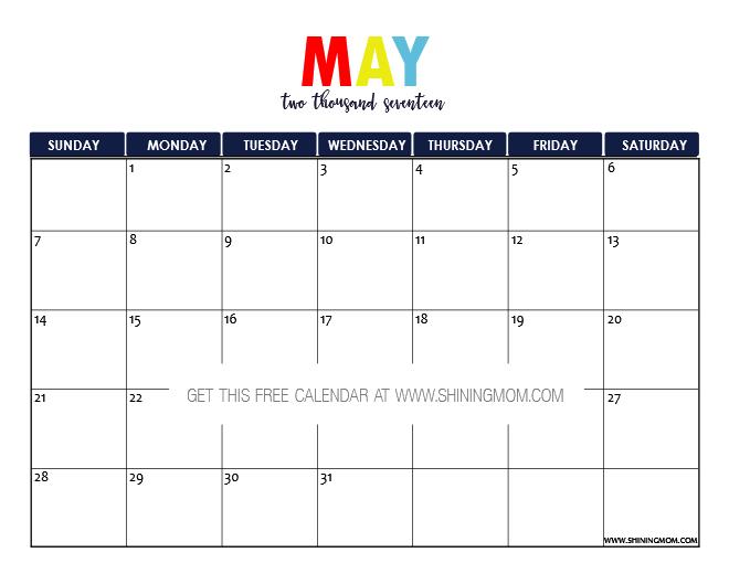 May 2017 Calendar